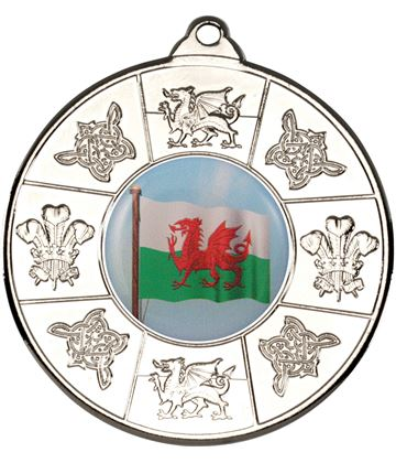 "Welsh Patterned Medal Silver 50mm (2"")"