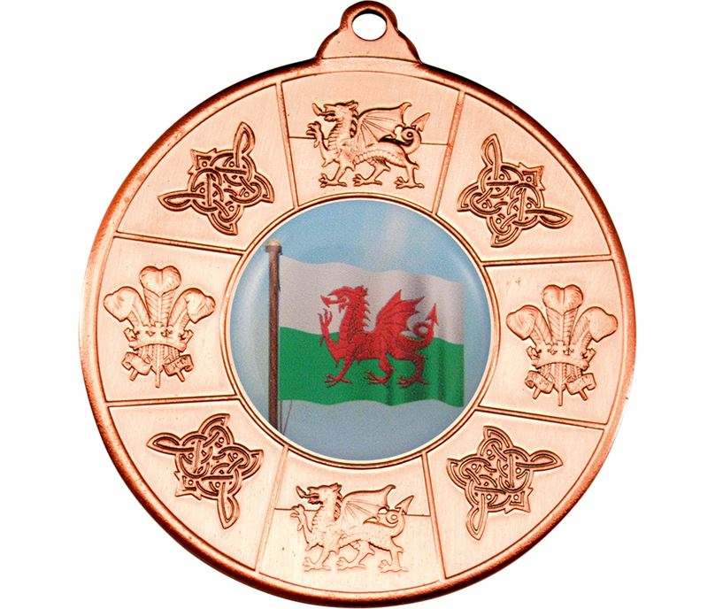 "Welsh Patterned Medal Bronze 50mm (2"")"