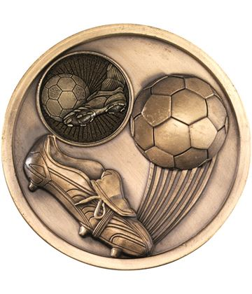 "Boot & Ball Football Presentation Medal Antique Gold 70mm (2.75"")"