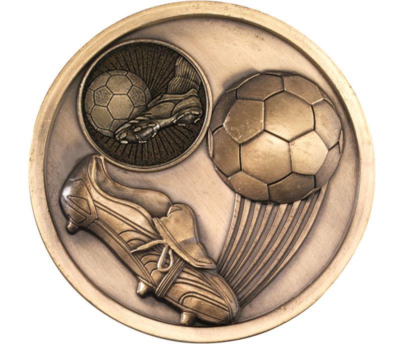 "Boot & Ball Football Presentation Medal Antique Gold 70mm (2.75"")"