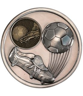 "Boot & Ball Football Presentation Medal Antique Silver 70mm (2.75"")"