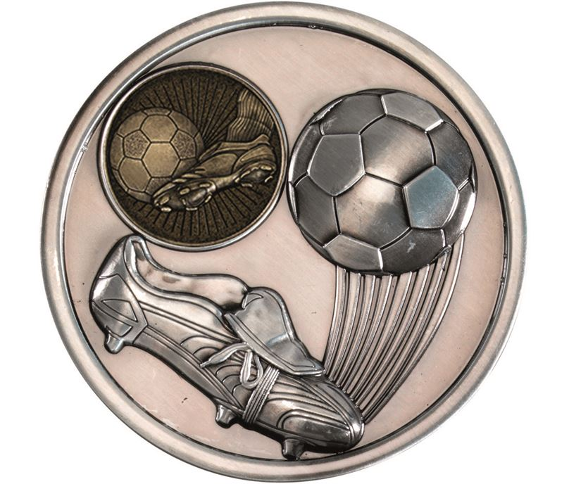 "Boot & Ball Football Presentation Medal Antique Silver 70mm (2.75"")"