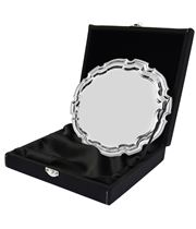 """Black Leatherette Salver Tray Case For Up To 4"""" Trays"""