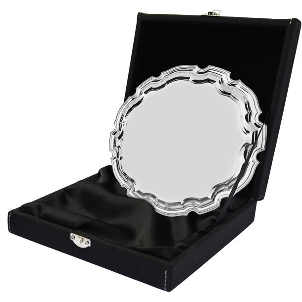 "Black Leatherette Salver Tray Case for up to 6"" Trays"