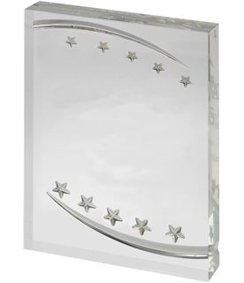 """Free Standing Clear Acrylic Award with Embossed Stars 18cm (7"""")"""