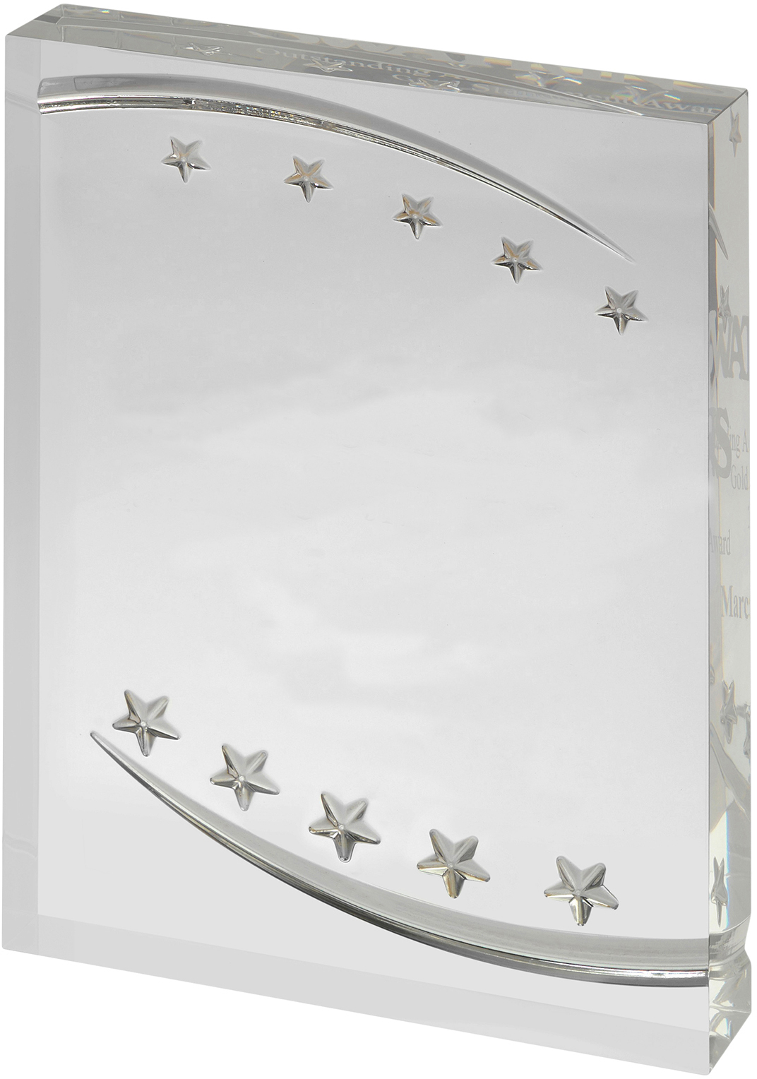 "Free Standing Clear Acrylic Award with Embossed Stars 18cm (7"")"