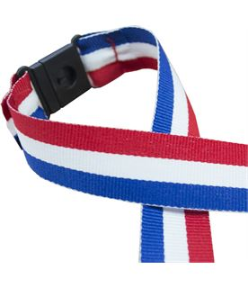 "Red, White & Blue Medal Ribbon With Safety Clip 76cm (30"")"
