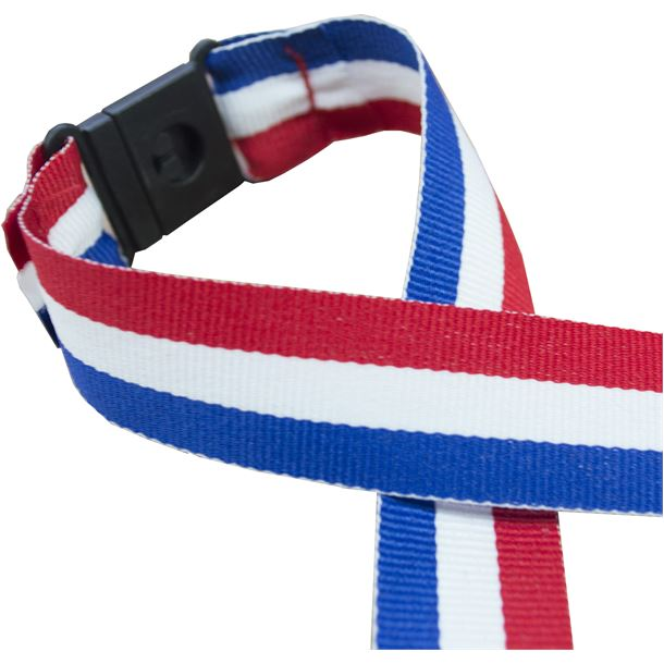 "Red, White & Blue Medal Ribbon With Safety Clip 80cm (32"")"