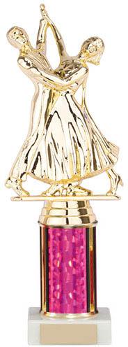 "Ballroom Dance Couple Topper on a Pink & Gold Column 24.5cm (9.75"")"