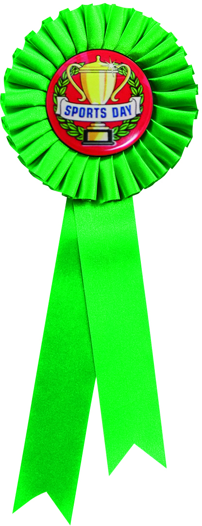 "Single Tier Green Rosette With Sports Day Centre Disc 25.5cm (10"")"