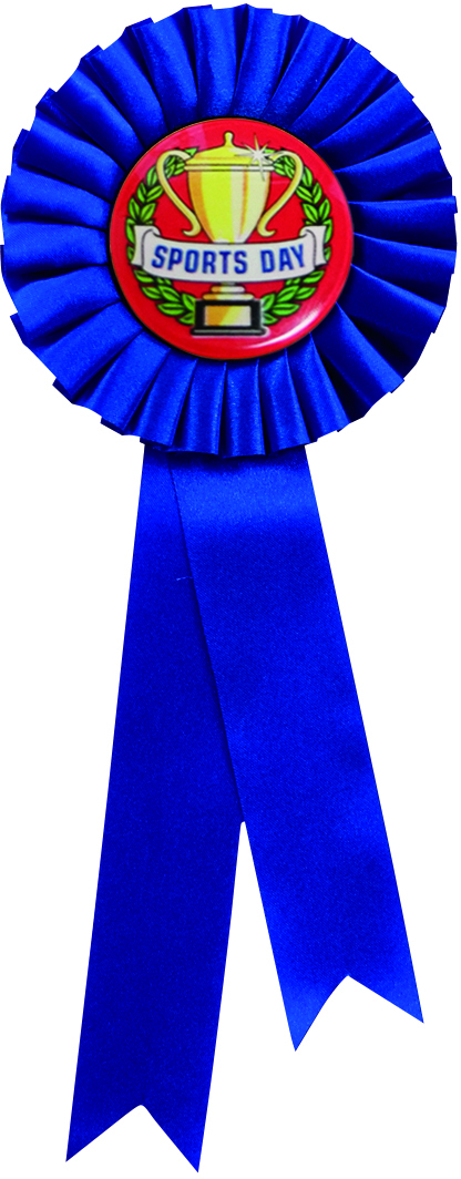 "Single Tier Blue Rosette With Sports Day Centre Disc 25.5cm (10"")"