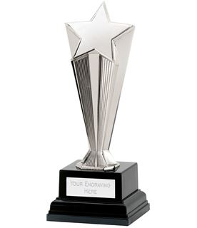 "Silver Recognition Star Award on Black Base 20.5cm (8"")"