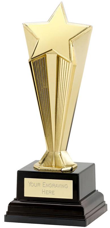 """Gold Recognition Star Award on Black Base 17cm (6.5"""")"""