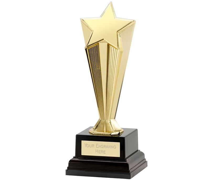 "Gold Recognition Star Award on Black Base 17cm (6.5"")"