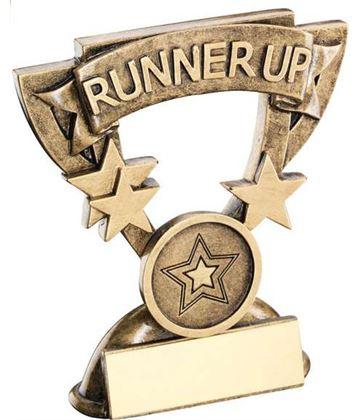 "Runner-Up Mini Cup Banner Trophy 9.5cm (3.75"")"