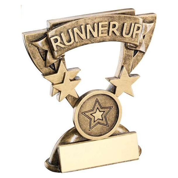 "Runner-Up Mini Cup Banner Trophy 9.5cm (3.75"")"
