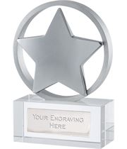 "Silver Finish Optical Crystal Star Awards 11.5cm (4.5"")"