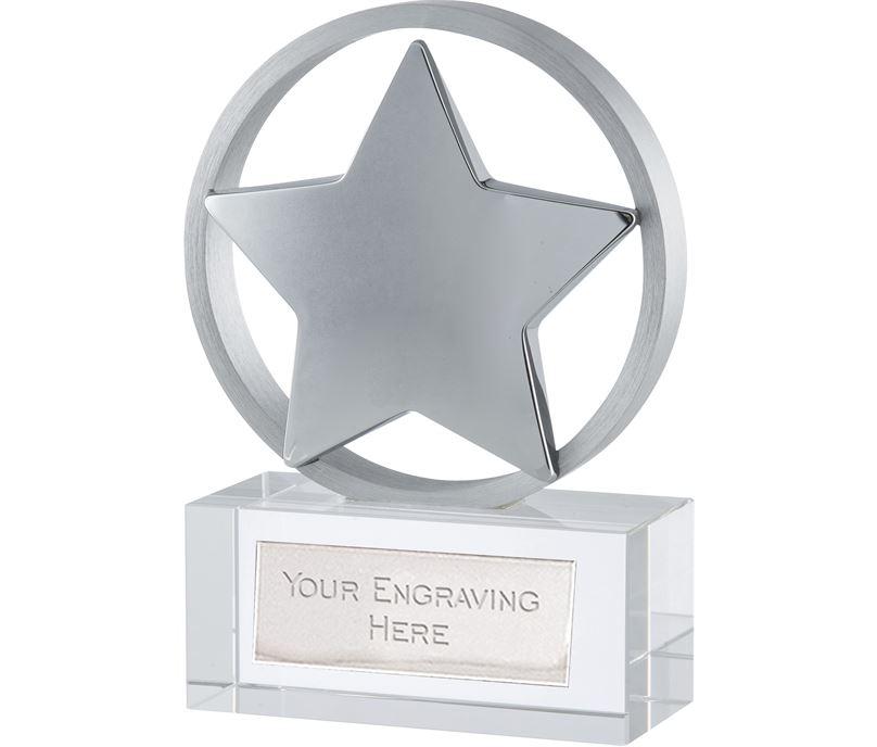 "Silver Finish Optical Crystal Star Awards 11.5cm (4.5"")"