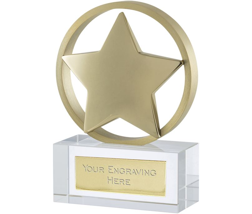 "Gold Finish Optical Crystal Star Awards 11.5cm (4.5"")"