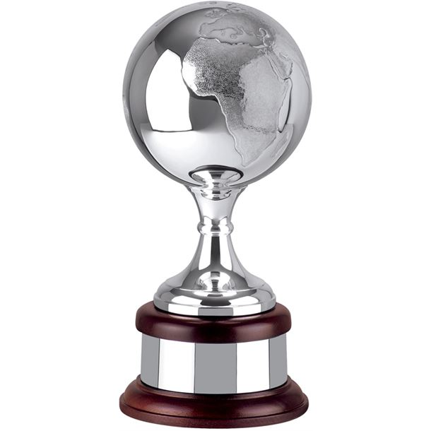 """Silver Plated Hand Chased Globe Award 29cm (11.5"""")"""