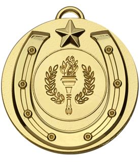 """Gold Horse Shoe Target Medal 50mm (2"""")"""