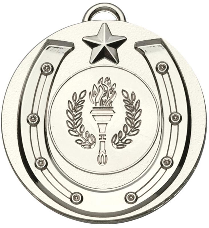 """Silver Horse Shoe Target Medal 50mm (2"""")"""