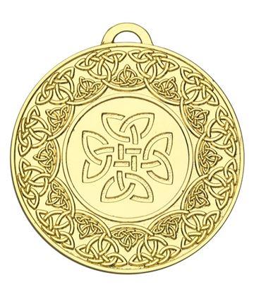 """Gold Celtic Target Medal 50mm (2"""")"""