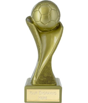 "Football Spiral Groove Pattern Trophy Gold 14.5cm (5.75"")"