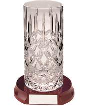 "Cut Crystal 405ml Highball Tumbler & Wooden Base 15cm (6"")"
