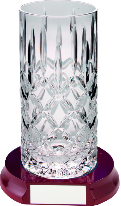 "Cut Crystal 405ml Highball Tumbler & Wooden Base 15cm (6"")"
