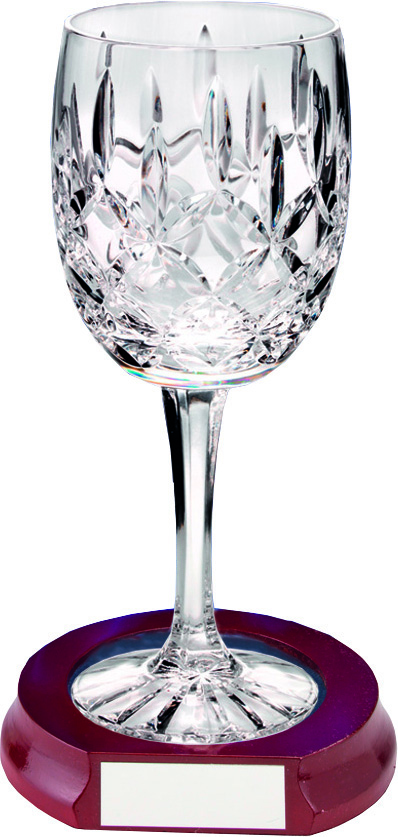 "Cut Crystal 200ml Wine Glass & Wooden Base 18.5cm (7.25"")"