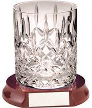 "Cut Crystal 405ml Whiskey Glass & Wooden Base 10cm (4"")"