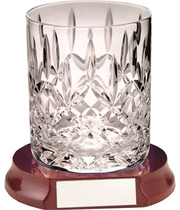 "Cut Crystal 405ml Whiskey Glass & Wooden Base 10cm (4"")"