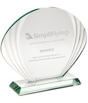 "Shell Shaped Glass Award 16.5cm x 20cm (6.5"" x 7.75"")"