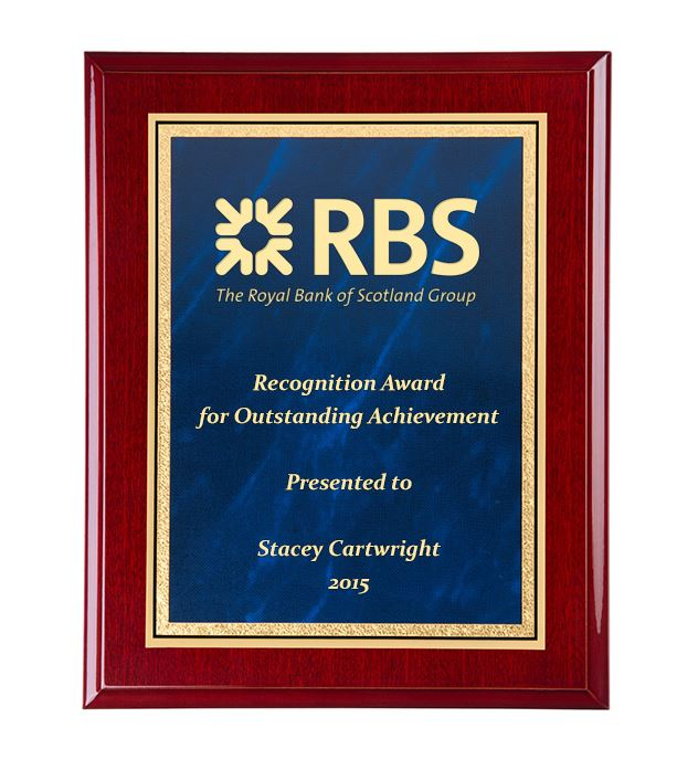 """Gloss Rosewood Finished Gold & Blue Marble Mist Plaque 23cm (9"""")"""