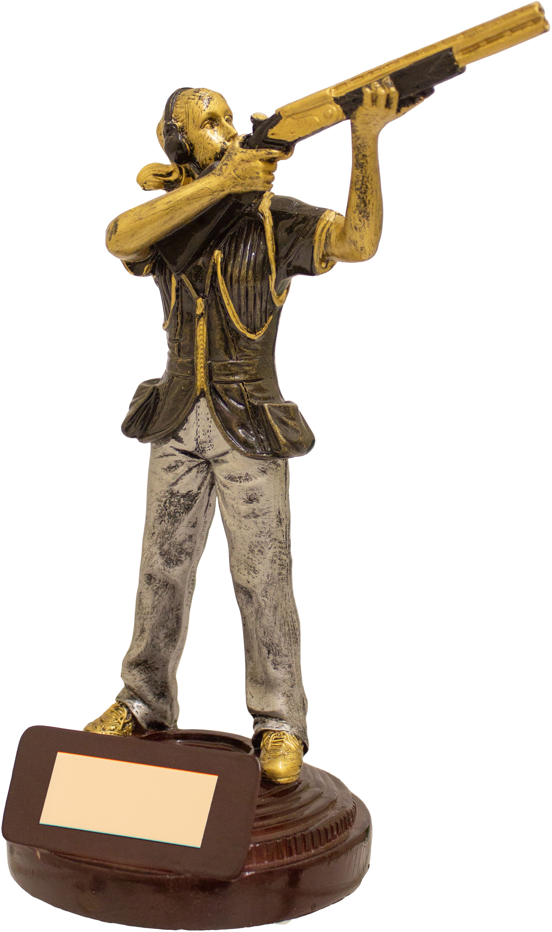 "Female Clay Pigeon Shooting Figure Trophy Gold & Brown 18cm (7"")"