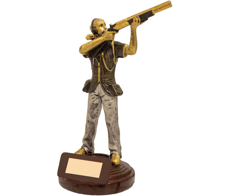"""Female Clay Pigeon Shooting Figure Trophy Gold & Brown 18cm (7"""")"""