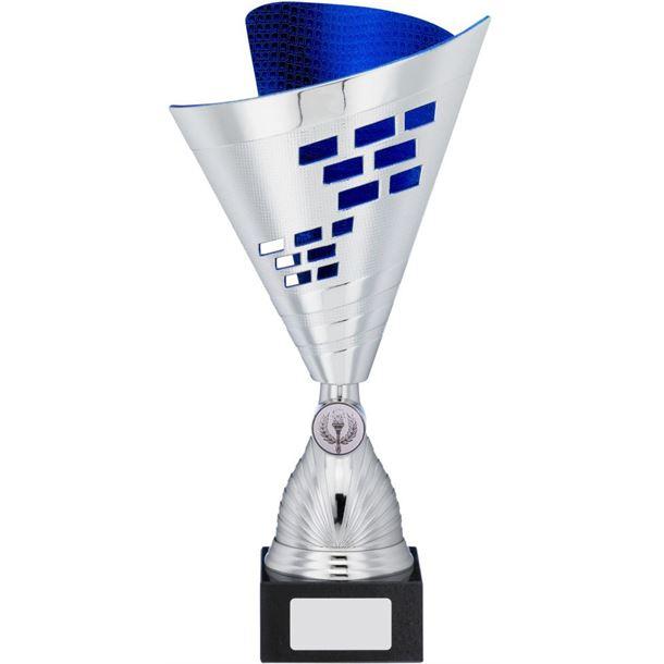"Cone Trophy Cup Multi Award Silver & Blue 32cm (12.5"")"
