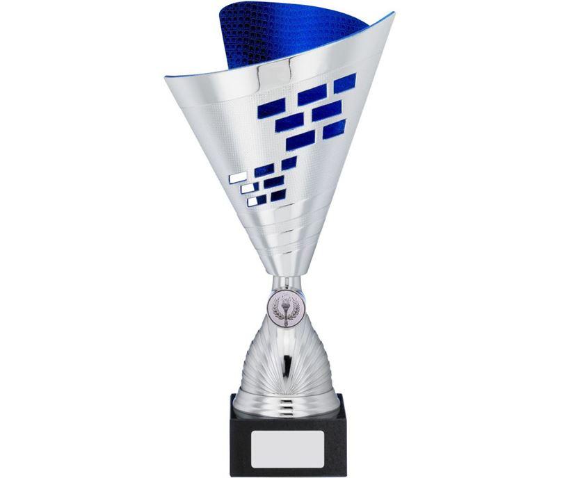 "Cone Trophy Cup Multi Award Silver & Blue 28.5cm (11.25"")"