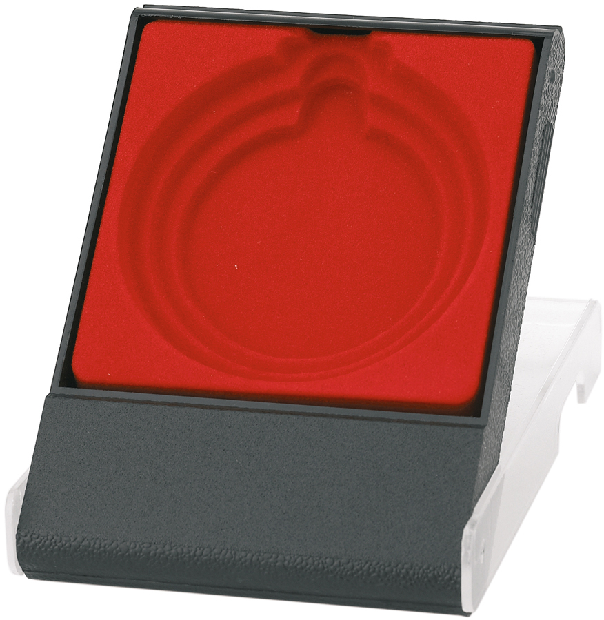 Red Medal Box with Clear Lid for 50mm, 60mm, or 70mm Medals