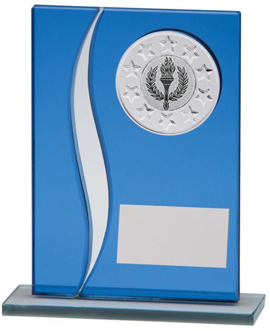 "Spirit Blue Mirror Glass Award 16.5cm (6.5"")"