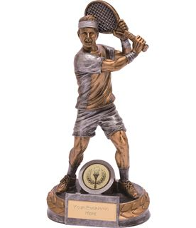 "Male Tennis Player Trophy Silver & Gold 18cm (7"")"