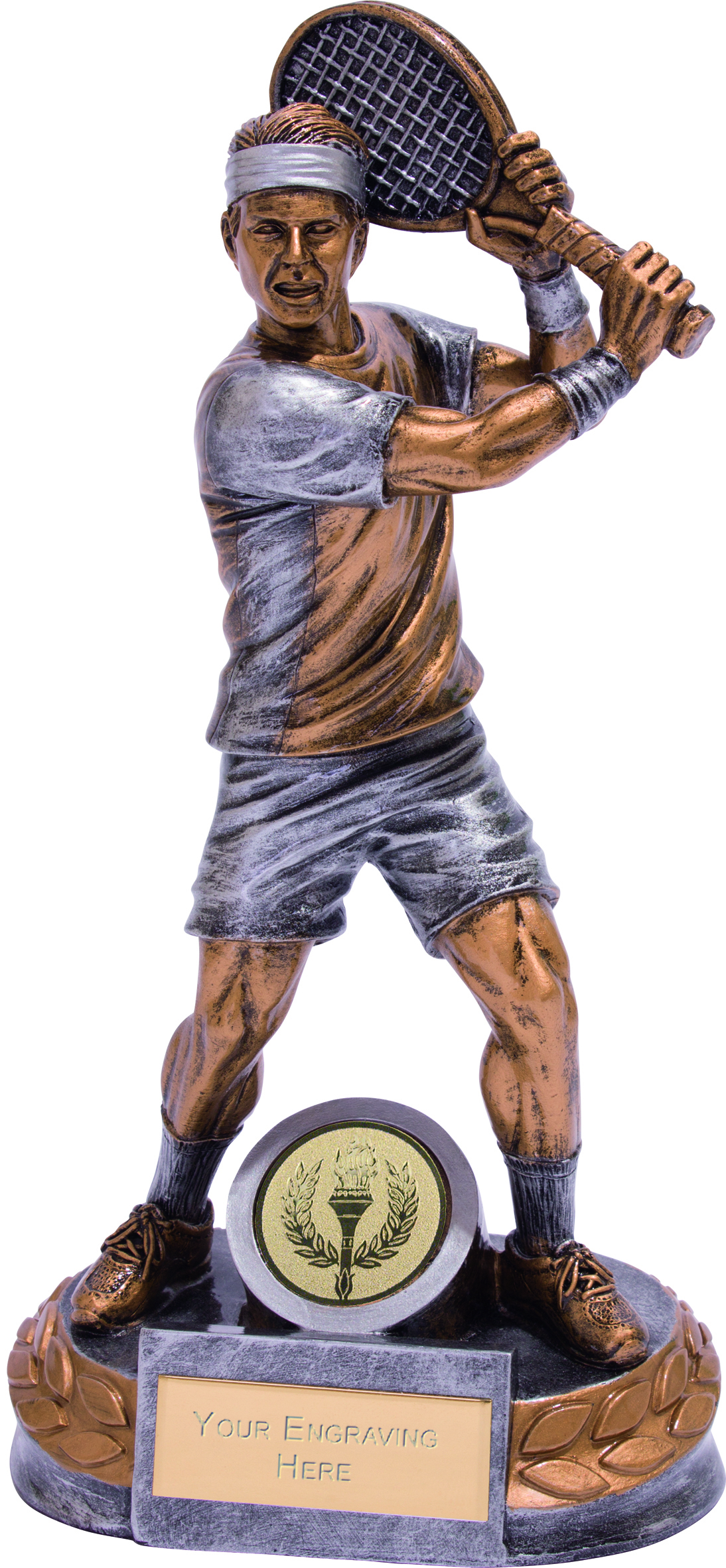 """Male Tennis Player Trophy Silver & Gold 18cm (7"""")"""