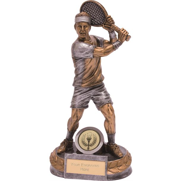 """Male Tennis Player Trophy Silver & Gold 20cm (8"""")"""