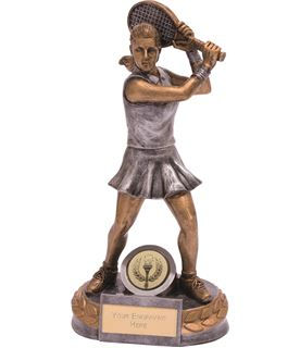 "Female Tennis Player Trophy Silver & Gold 18cm (7"")"