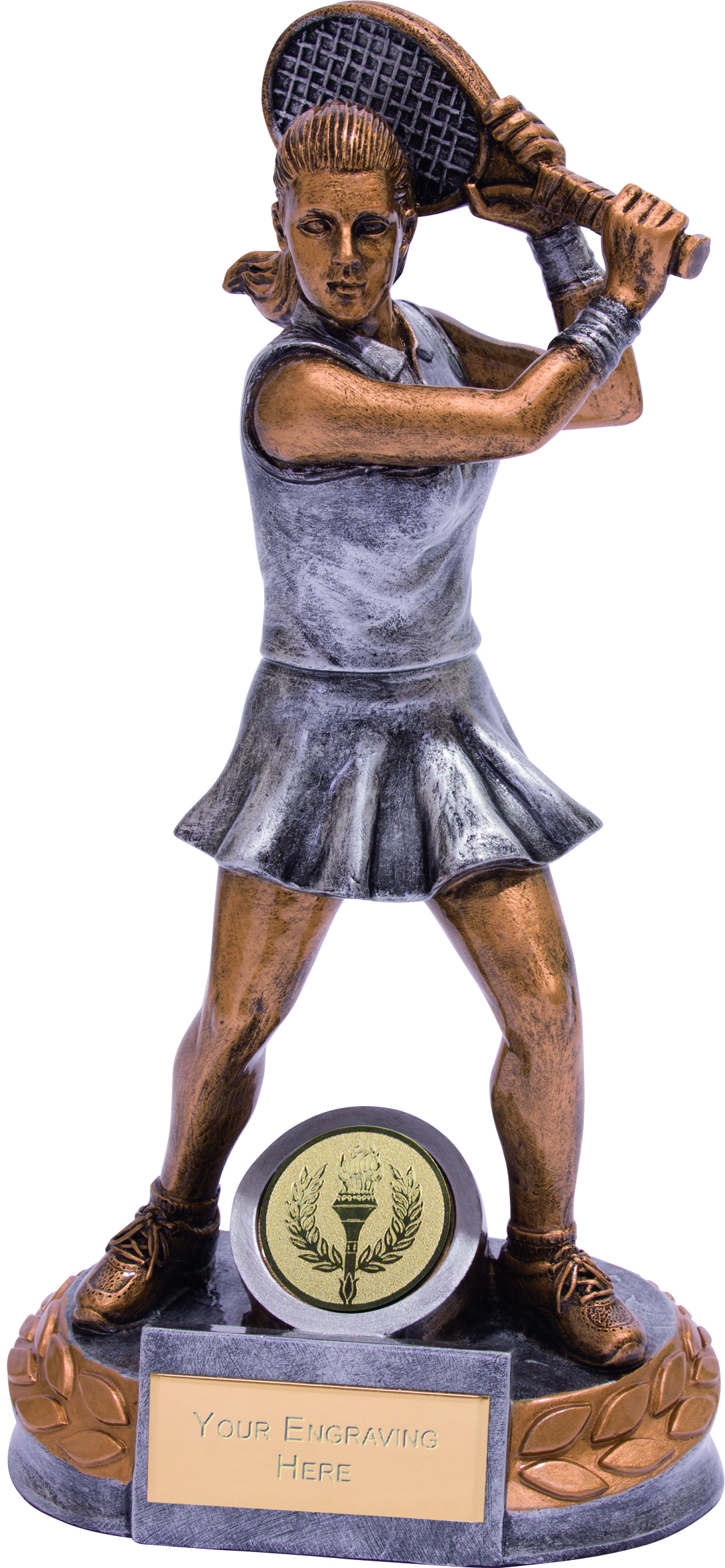 "Female Tennis Player Trophy Silver & Gold 20cm (8"")"