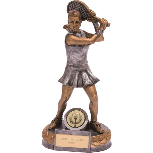 "Female Tennis Player Trophy Silver & Gold 20cm (8"")"