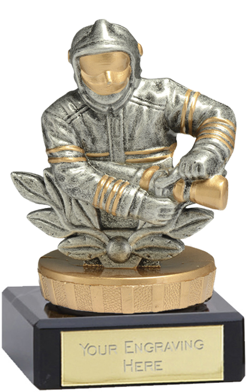 "Fire Fighter Trophy on Marble Base Gold & Silver 9.5cm (3.75"")"