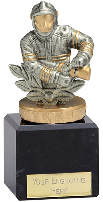 "Fire Fighter Trophy on Marble Base Gold & Silver 12cm (4.75"")"