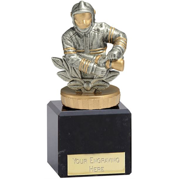 "Fire Fighter Trophy on Marble Base Gold & Silver 12.5cm (5"")"